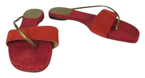 Hermès Red Gold Leather Rope Espadrille Sandals