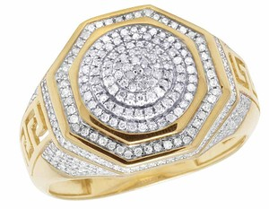 Other 10K Yellow Gold Real Diamond Octagon 3D Real Diamond Ring 1/2 CT 16MM