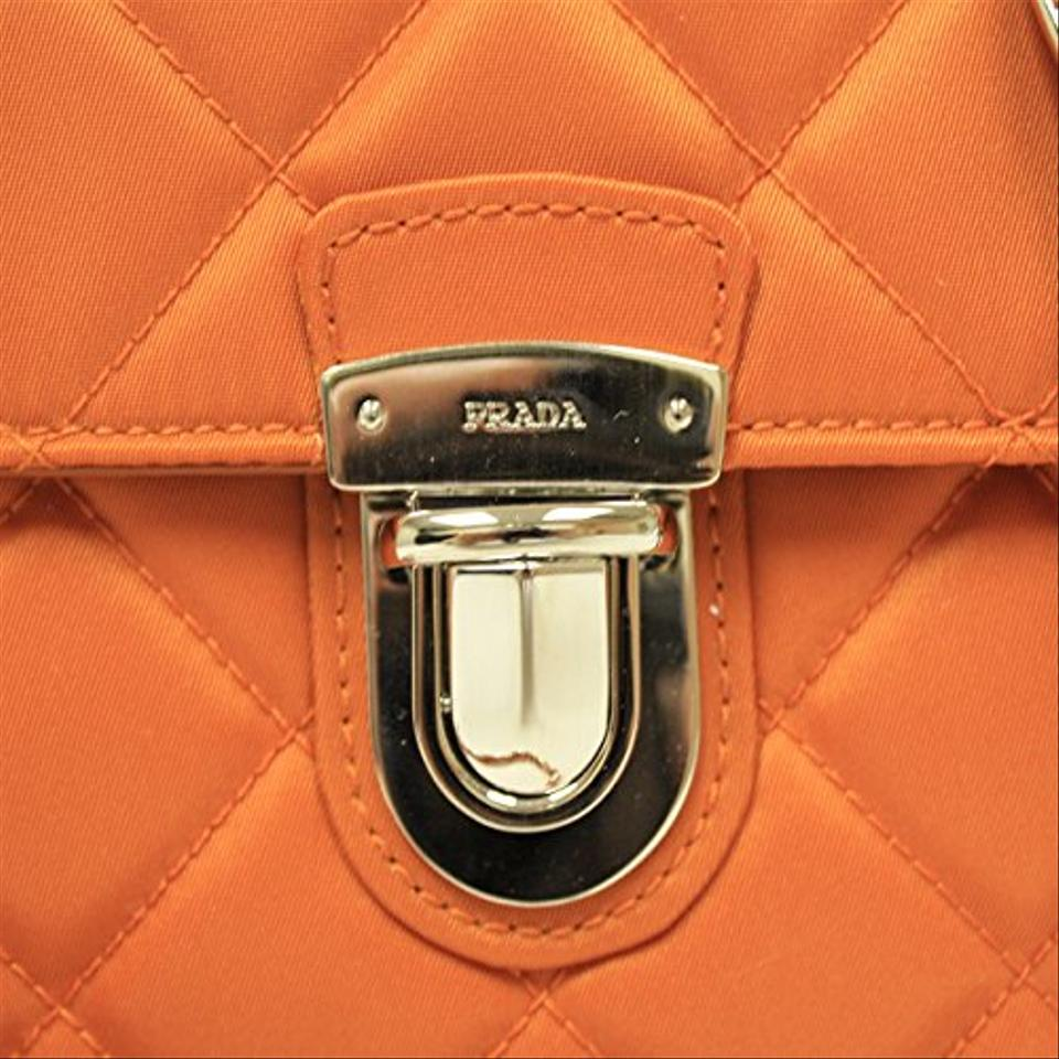 43bda44ee15a Prada Papaya Orange Nylon / Leather Tessuto Impuntu Pattina Cross Body Bag  - Tradesy