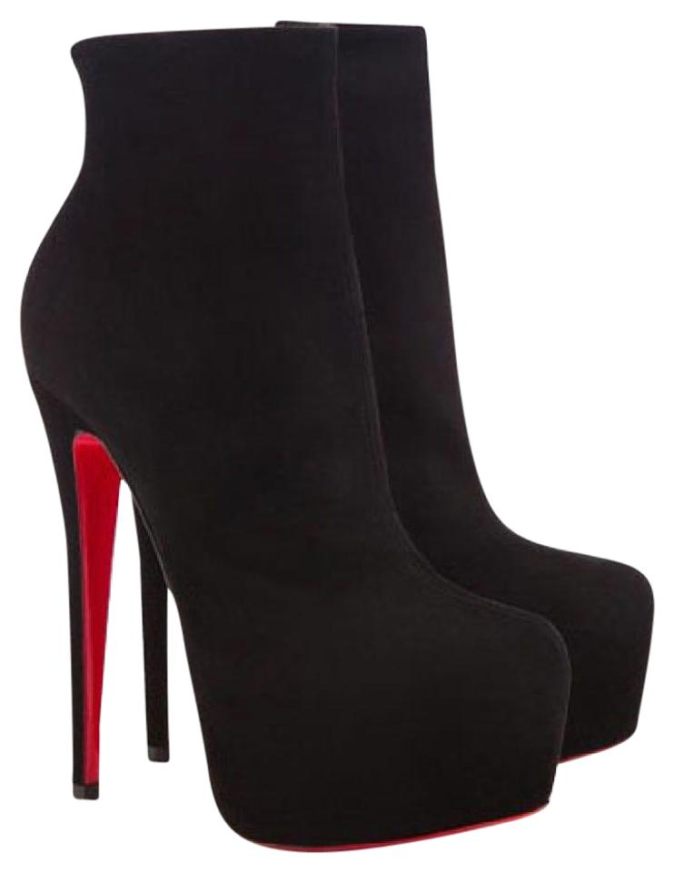 hot sale online 4237b 9f31b Christian Louboutin Black Suede Daffodile Platform High Heel Lady Fashion  Red Sole Toe Ankle Italy Daf Boots/Booties Size EU 37.5 (Approx. US 7.5) ...