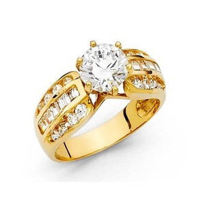 Yellow Gold Solid 14k 1.25ct Round Size 7 Engagement Ring