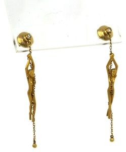 Carrera y Carrera Diamond 18k Yellow Gold Nude Woman Drop Dangle Earrings