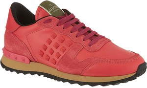 Valentino Rockstud Sneakers Designer Fashion Coral Athletic