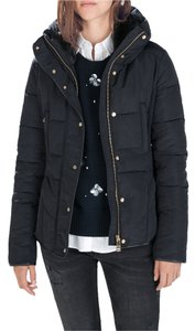 Zara Short Down Puffer Coat Navy Blue Jacket