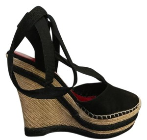 Gucci Suede Espdrilles Black Wedges