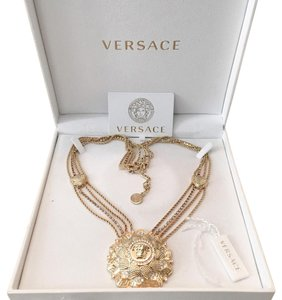 Versace Large Gold Medusa Crystal Flower Chain Necklace