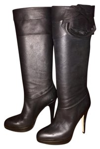 Valentino Knee High Rose Lambskin Black Boots