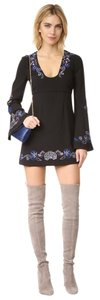 Free People Embroidered Scoop Neck Bell Sleeves Mini Dress