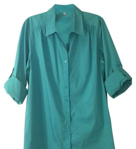 Finley Button Down Shirt Turquoise