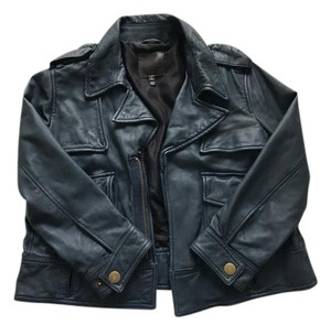 Joie Leather Motorcycle Crop Navy Leather Jacket