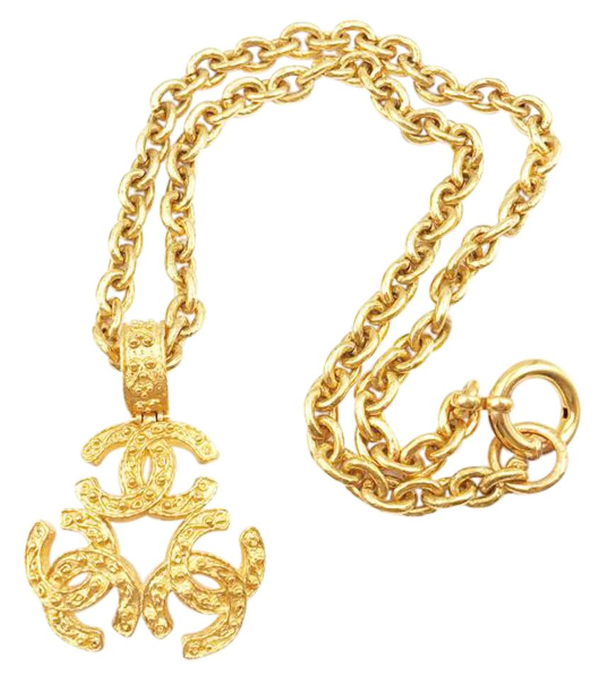 Chanel gold vintage 24k plated triple cc pendant long necklace tradesy chanel chanel vintage 24k gold plated triple cc pendant long necklace aloadofball Image collections