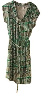 Diane von Furstenberg short dress green & black print on Tradesy