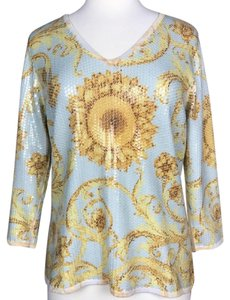 J. McLaughlin V-neck Sequin Cotton Print Sweater