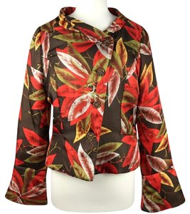 Walter by Walter Baker Silk Leaf Print Print Brown Multi Jacket