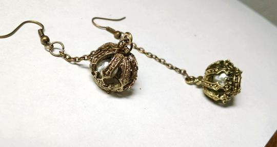 Other New Crown Earrings Dangle Chain Antiqued Gold J761