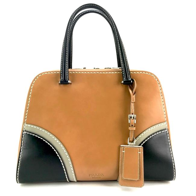 Prada Bauletto Vitello Naturale/Nero Leather Satchel Prada Bauletto Vitello Naturale/Nero Leather Satchel Image 1