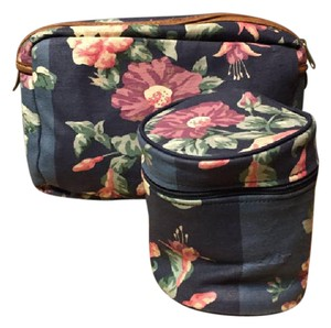 Laura Ashley Laura Ashley Navy Blue Romantic roses Floral Cosmetic Pouch Set 2