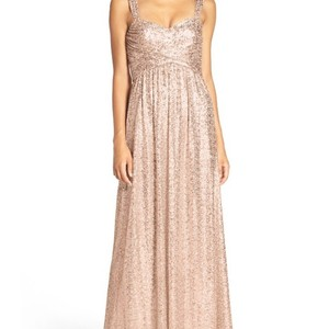 Amsale Gold Loire Sweetheart Neck Sequin Gown Dress