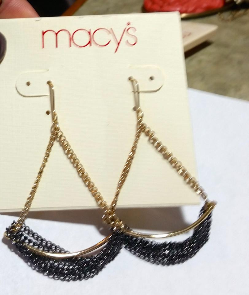 Macy\'s Black Gold New Chain Dangle J3377 Earrings - Tradesy
