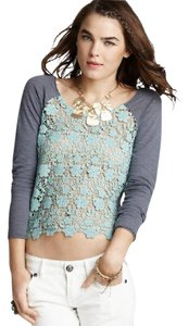 Free People Lace Trim Daisy Front Lace Top GRAY GREEN