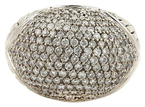 John Hardy 1ct Diamonds 18k Gold & Sterling Silver Dome Ring Size 6.5