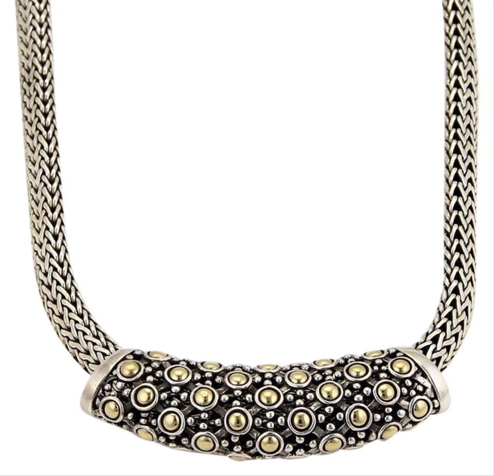 John hardy necklaces up to 90 off at tradesy john hardy classic 925 silver 18k gold dot slide pendant woven necklace aloadofball Image collections