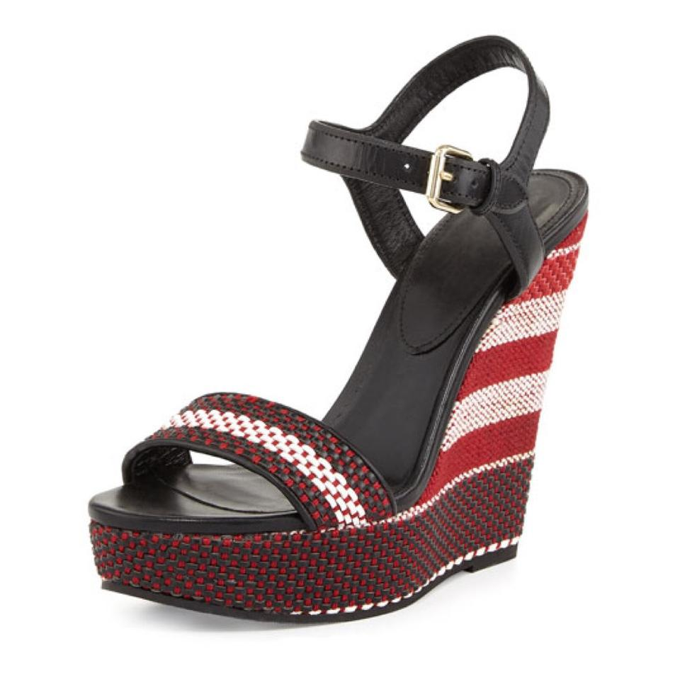 Burberry Kavanagh Woven Black, Red And White Wedges ...