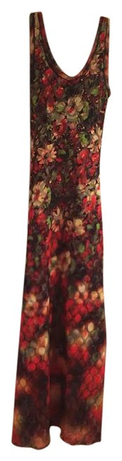 Item - Red Black Yellow Green E54070 Long Cocktail Dress Size 4 (S)