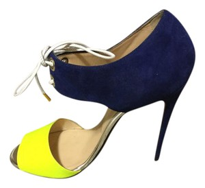 Christian Louboutin royal blue suede and neon yellow Sandals