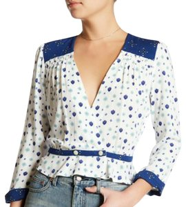 Free People Top Blue/ white
