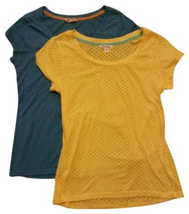 Energie Tee Scoop Neck Polka Dot T Shirt Blue & Yellow