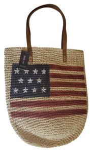 Style & Co Weekend Tote Straw American Flag & Red, White and Blue Beach Bag