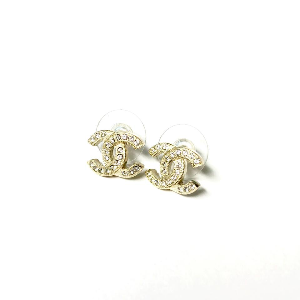 Chanel 2017 Full Package Gold Cc Earrings With Rhinestones