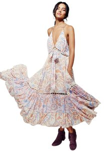 Pink, Ivory, Blue, Purple, Peach Maxi Dress by Free People Hi Lo Maxi Floral Flowy Bohemian
