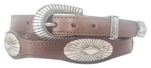 Justin 70s Vintage LEATHER Silver Concho Concha BROWN Belt Belts Buckle Women