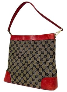 Gucci Perfect Size Great Everyday Excellent Vintage Rare Color Combo Comes With Dust Tote in Brown large G logo print canvas & red leather