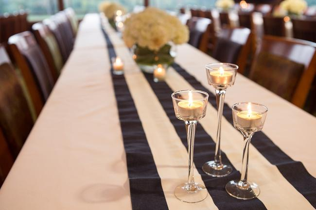 Item - Navy and White Striped Table Runners Tablecloth
