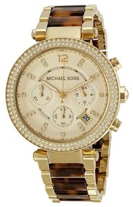 Michael Kors NWT Women's Parker Tortoise and Gold Tone Chronograph Watch MK5688