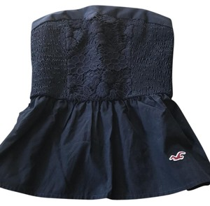 Hollister Navy with floral embroidery and optional bow to tie around Halter Top