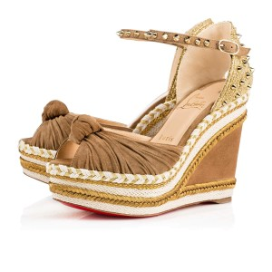 Christian Louboutin Madcarina 120mm New taupe, beige, gold Wedges