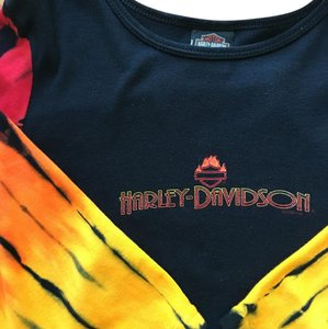 Harley Davidson T Shirt black & tie dyed 3/4 sleeves