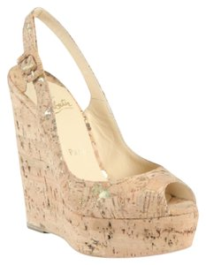 Christian Louboutin Cork Nude Wedges