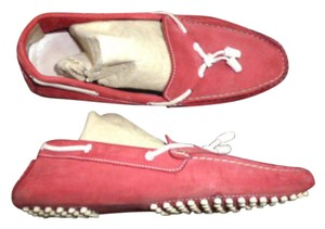 J.Crew Driving Moccasins Loafers Leather Made In Italy Red Flats