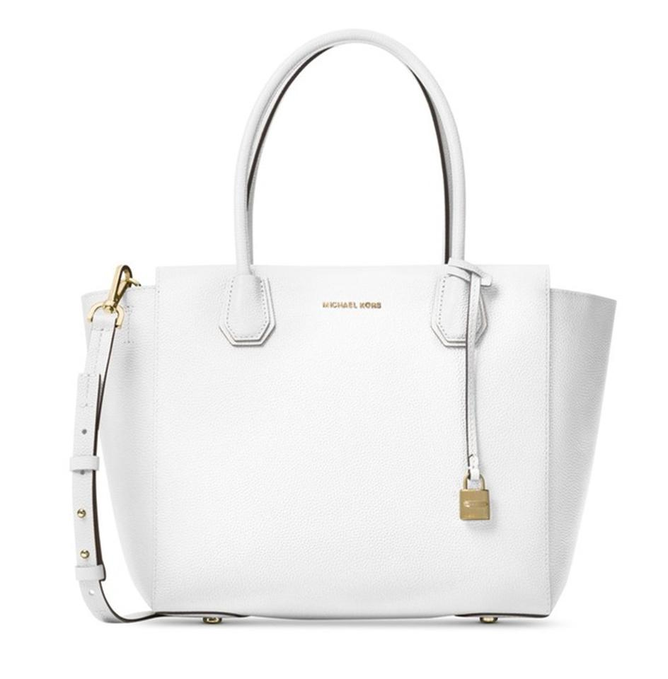 Michael Kors Large Mercer Tote Satchel In Optic White