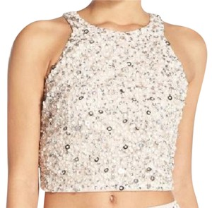 Adrianna Papell Sequin Party Date Night Crop Top Pink