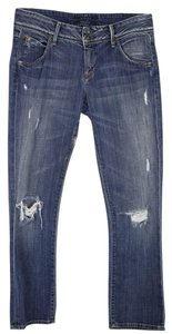 Hudson Distressed Wash Low-rise Straight Leg Jeans-Distressed
