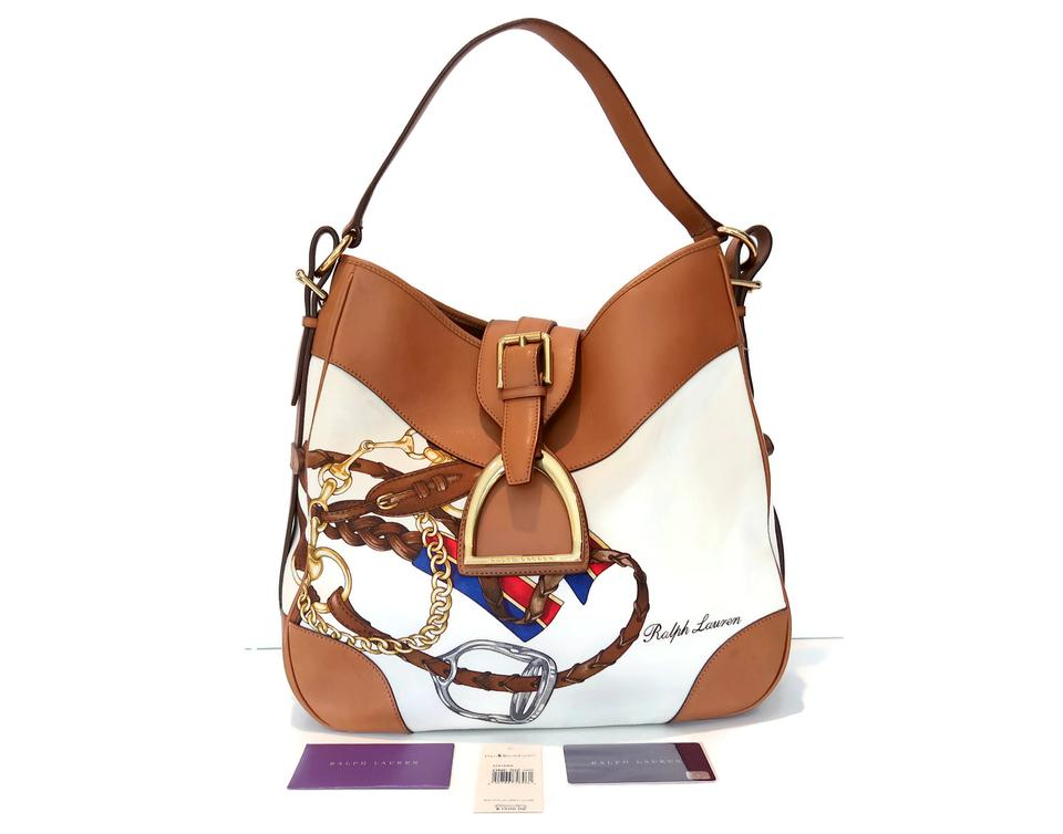 cbb860fc91 Ralph Lauren Equestrian Horse Bit Horse Canvas Leather Hobo Bag Image 0 ...