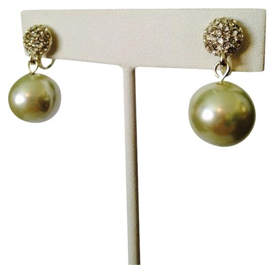 Neiman Marcus Simulated Pearl Ivory Fireball Crystal Dangle Earrings