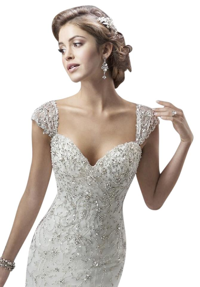 Maggie Sottero Ivory Silver Beaded Cayleigh Wedding Dress Size 8 M