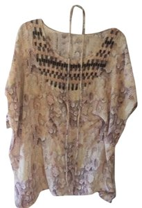 Anuschka short dress Pinkish Cream Snake Print, Brown And Cream Sequin Beading on Tradesy